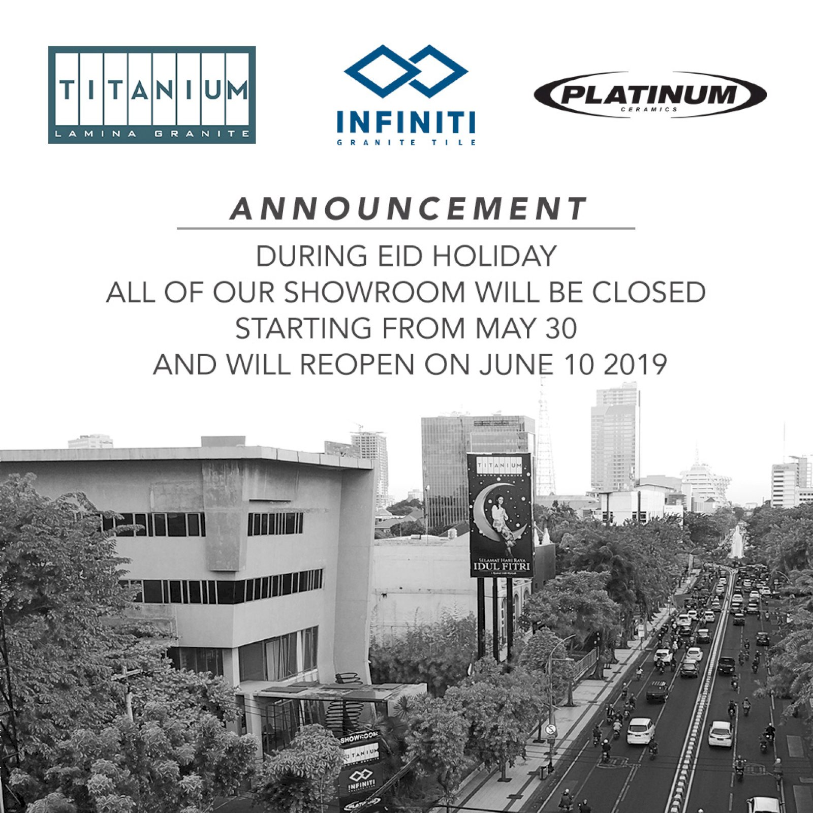 Announcement: Platinum Ceramics Showroom Closed during Eid Holiday
